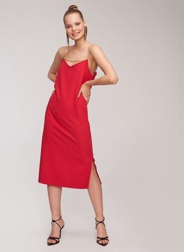 People By Fabrika Zincir Detaylı Elbise Kırmızı